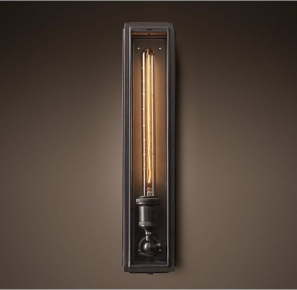 Union Filament Clear Glass Narrow Tall Sconce: