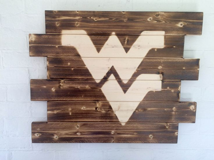 West Virginia University Mountaineers Rustic Wood Sign by WallyWallhangers on…