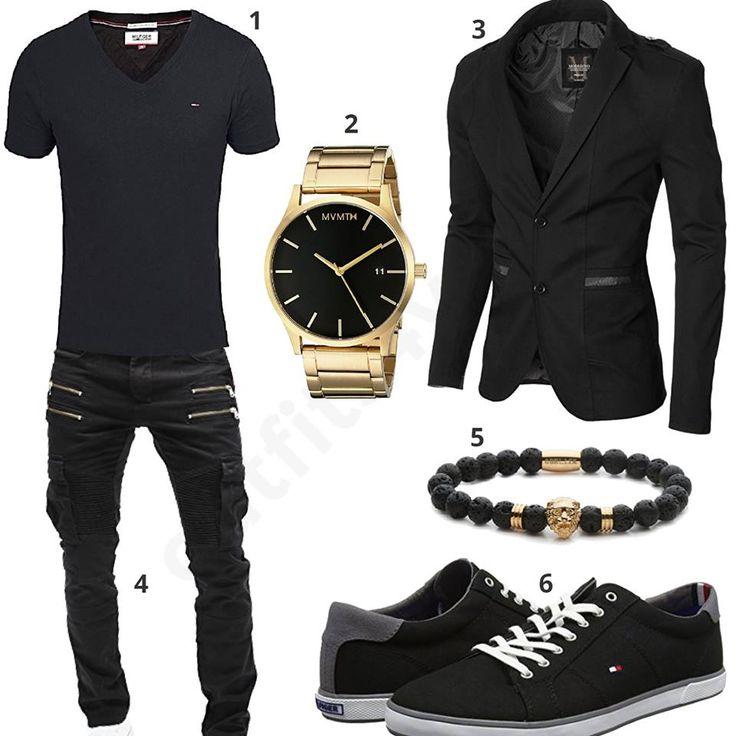 Schwarzes Herren-Outfit mit Tommy Hilfiger Shirt und Sneakern, goldener MVMT Uhr, Moderno Sakko, Merish Biker-Jeans und Obelizk Armband.