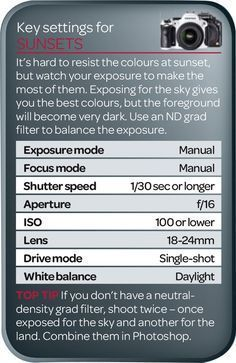 In our photography cheat sheet you'll find the best camera settings for sunsets. Use these as a starting point for great pictures! #CameraGear
