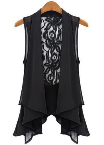 Stunning Irregular Clipping Lace Patchwork Black Waistcoats for Lady on sale only US$11.70 at martofchina.com