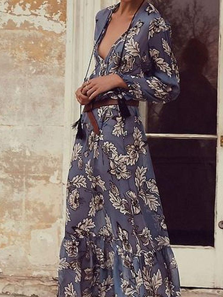 Blue Floral Plunge V-neck Ruffle Hem Long Sleeve Maxi Dress