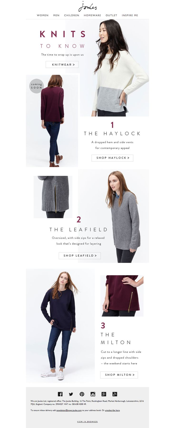 Joules knits email newsletter