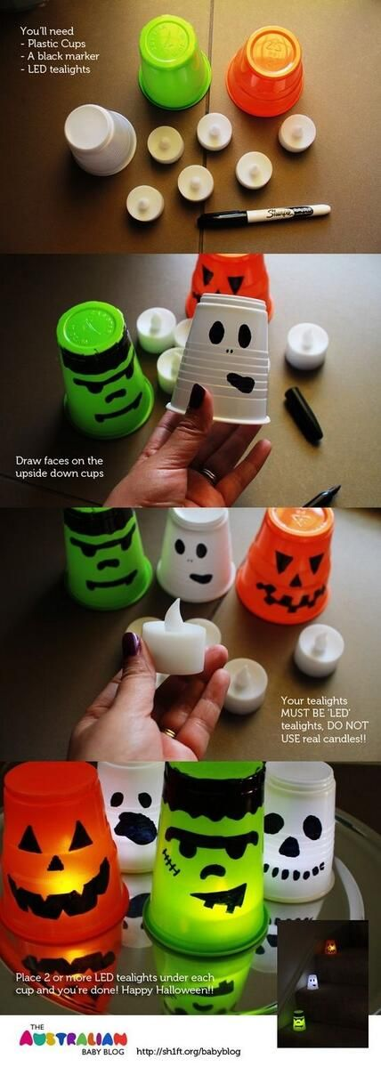 Simple and inexpensive way to decorate for Halloween! All you need is a permanent marker, cups and LED battery operated tea lights.