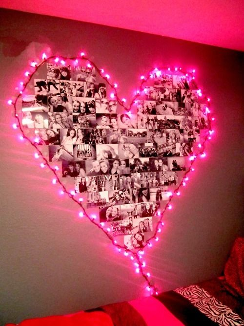 Heart shaped photo collage surrounded by pink lights! How incredibly sweet for Valentine's Day & EVERY day. I'm tryin' it + using these: http://www.flashingblinkylights.com/pinkcherryblossomflowerstringpartylights-p-2641.html