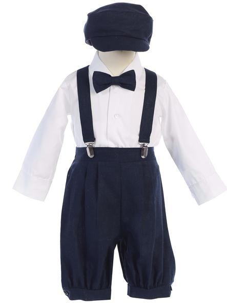 9ff09b56d ... Toddler Boys Vintage Suspender Linen Knickers with Hat Wedding Party  Birthday. Boys Navy Blue Linen Blend Suspender Knicker Shorts Set G827