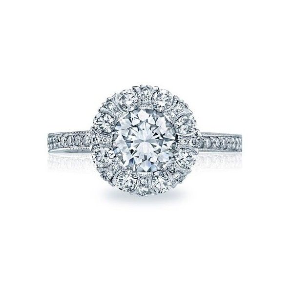 Tacori 2642RD Simply Tacori Halo Channel Set Engagement Setting ($4,940) ❤ liked on Polyvore featuring jewelry, rings, tacori, tacori rings, channel set ring, tacori jewelry and channel setting ring