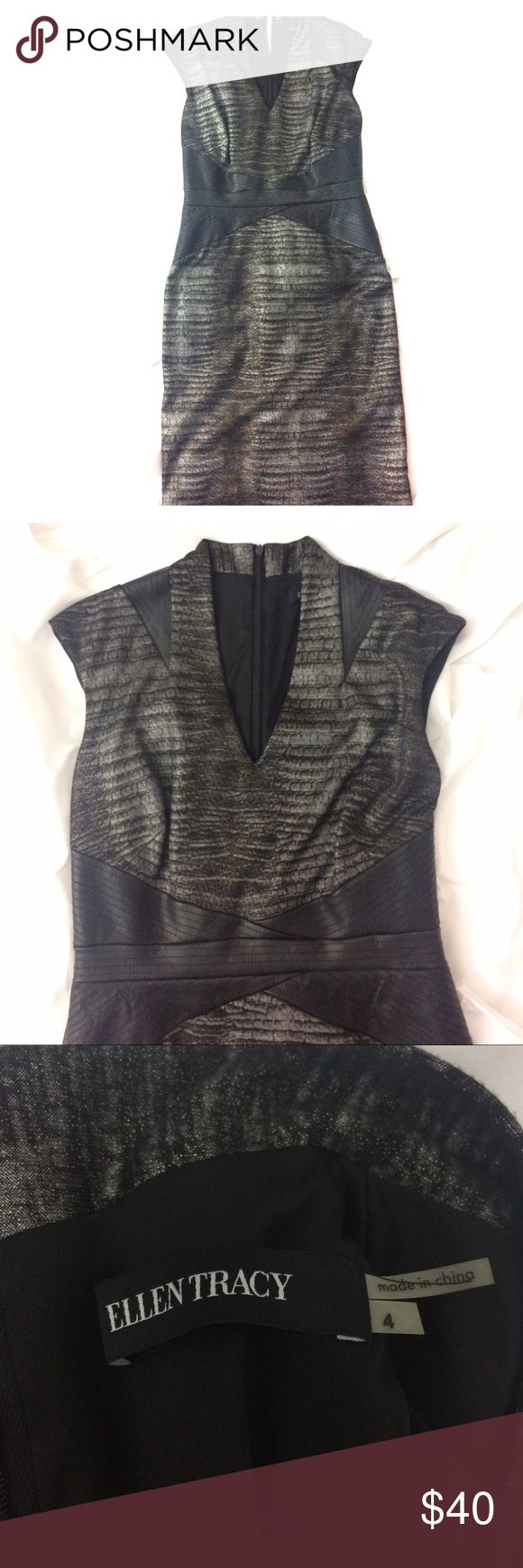 NWOT Ellen Tracy v neck dress with faux leather Never worn Ellen Tracy dress with v neck, cap sleeve and faux leather detail at waist and shoulders, fabric has gold metallic effect in the light but isn't glittery, open to offers! Ellen Tracy Dresses