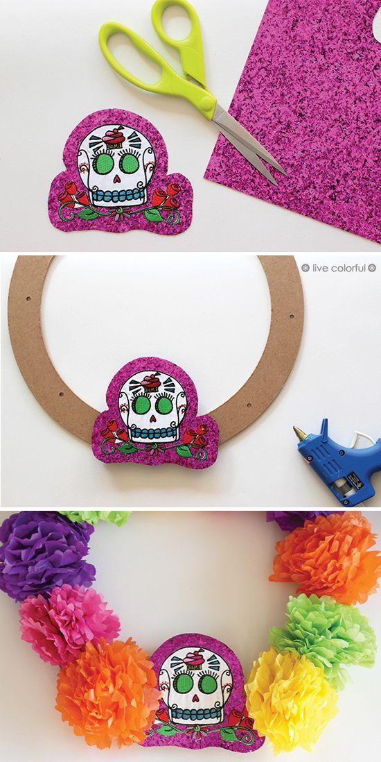 Make a Day of The Dead Colorful Wreath (Haz una guirnalda colorida para el Día de los muertos) | Live Colorful