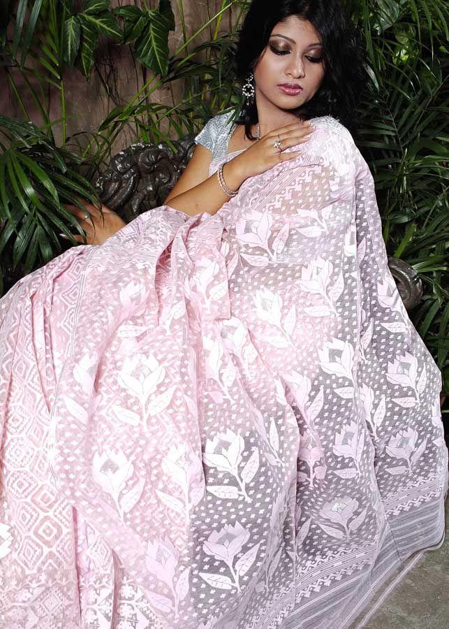 Pastel Pink Tangail Jamdani Saree from tskbd.com