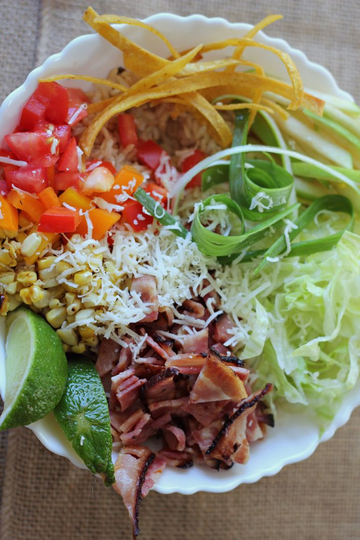 Gluten Free BLT Burrito Bowl.  Great weekday meal the whole family can enjoy!