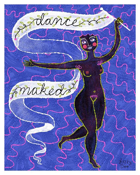 Feminist Naked Woman Wall Art – Feminist, illustration, print, dance, nude, girl, power, freedom