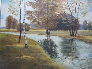 Early 1900 Antique Still River Landscape American Realism Oil Painting