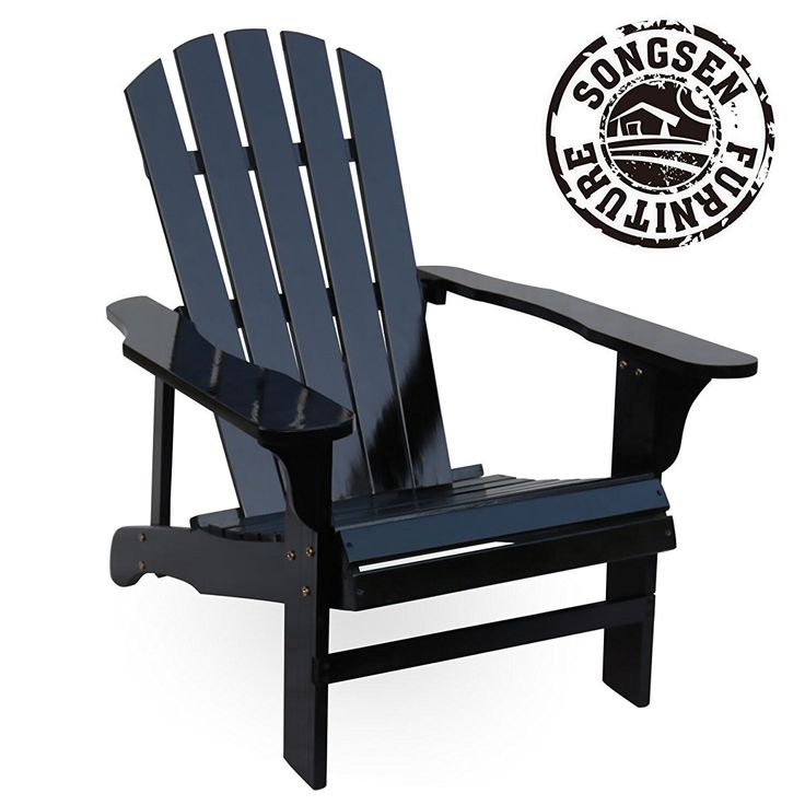 Songsen Outdoor Wood Adirondack Chairs/Muskoka Chair Patio Deck Garden  Furniture (Black)