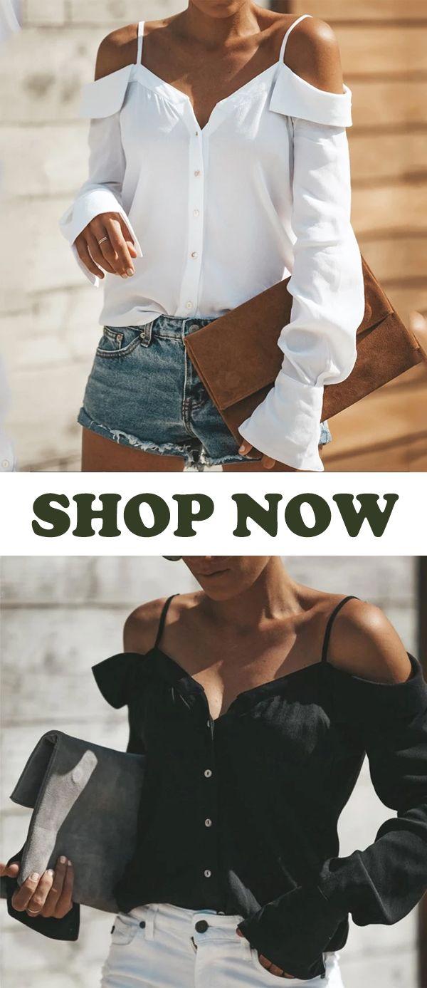 【US$26.95】Sexy Off Shoulder Plain Long Sleeve Straps Blouse #Blouse #Tops #F… – Image Beratungen Martina Eßer