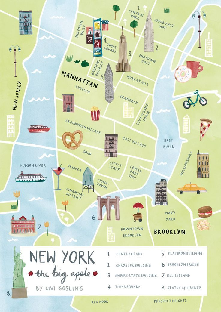 New York Illustrated Map – New York Print – New Yo…