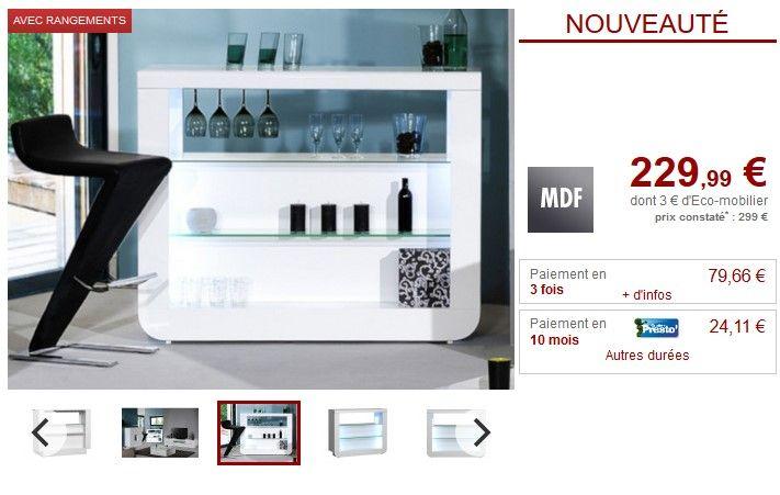 Meuble De Bar Despina Avec Leds Mdf Blanc Laque Pas Cher Meuble
