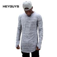 Heyguys 2017 extender calle hip hop camiseta al por mayor de la marca de moda camisetas de los hombres de verano de manga larga del diseño de gran tamaño asimiento de la mano(China (Mainland))