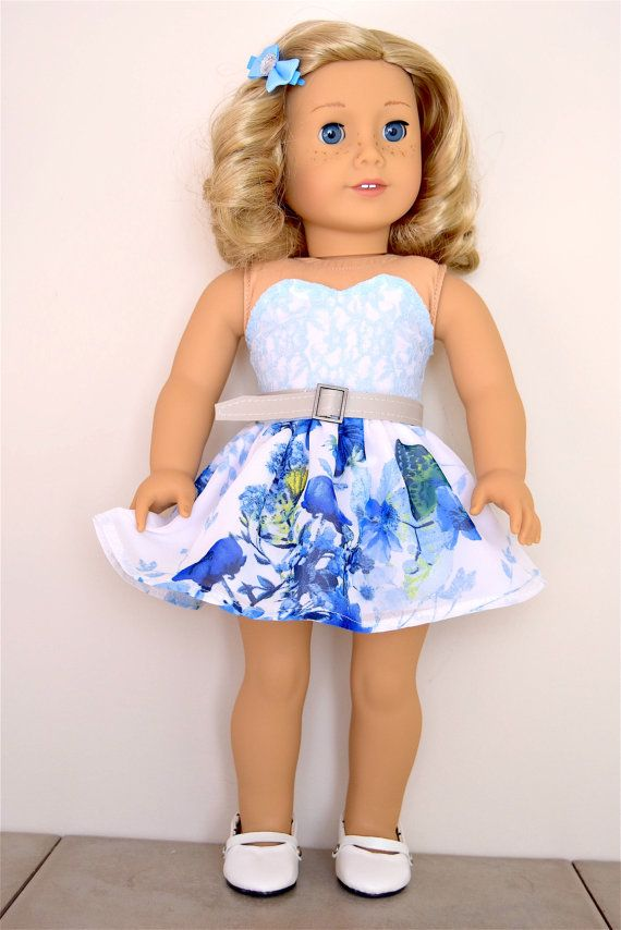 Dress Sky Blue for American Girl Dolls and by EliteDollWorld