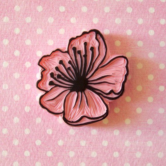 Cherry blossom rubber stamp, two color stamp, spring rubber stamp, hand carved stamp, spring decor, Japanese