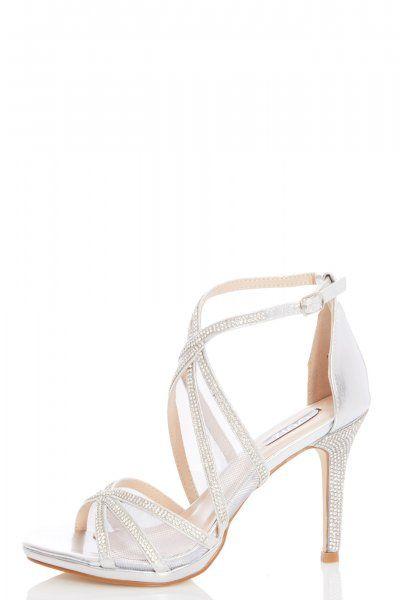 8ac3b79360c Silver Diamante Mesh Strap Heel Sandals in 2019