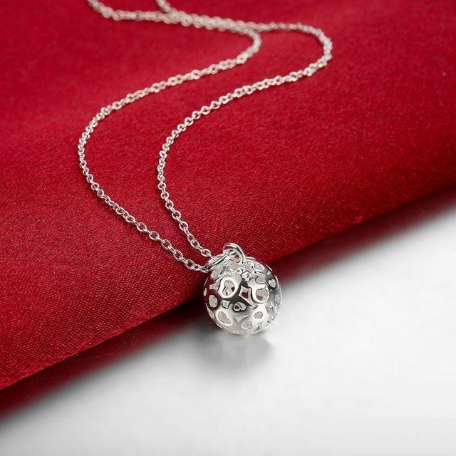 Ahueca hacia fuera pequeña bola colgantes del encanto 925 logo plata plateada Mujeres cadenas collares 20 ''Para los regalos de Navidad del Envío gratis