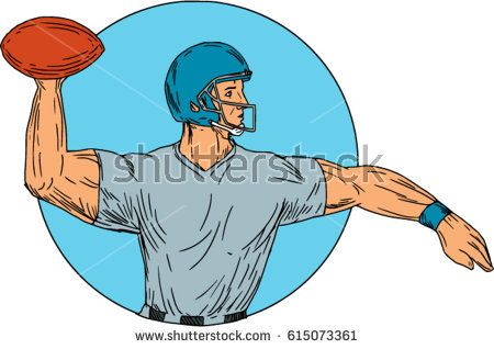 Drawing sketch style illustration of an american football gridiron quarterback player arms stretched throwing ball viewed from the side set inside circle on isolated background.  #Americanfootball #drawing #illustration