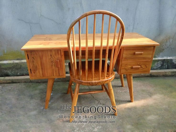 Teak Retro Scandinavian Furniture Windsor Chair and Writing Desk by Jepara Goods Indonesian Craftsman at factory price.
