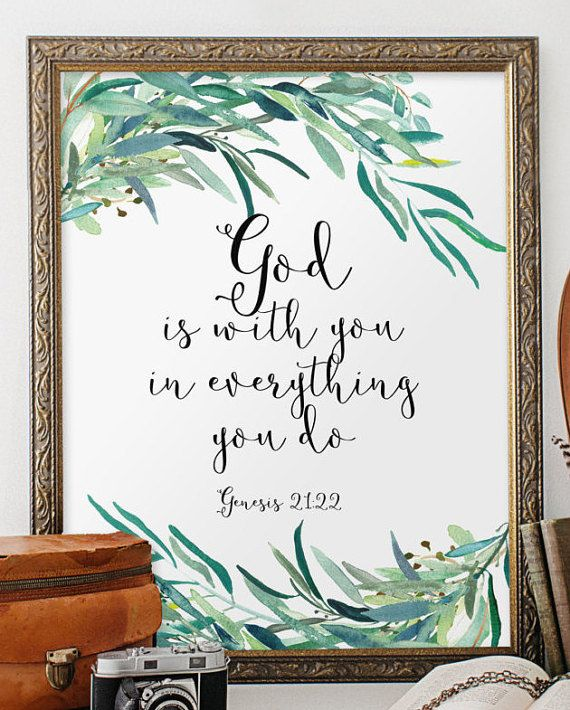Biblical wall art quotes, bible verse wall art print, Christian wall art, Scripture art printable, Inspirational quote, Genesis 21:22 BD-857