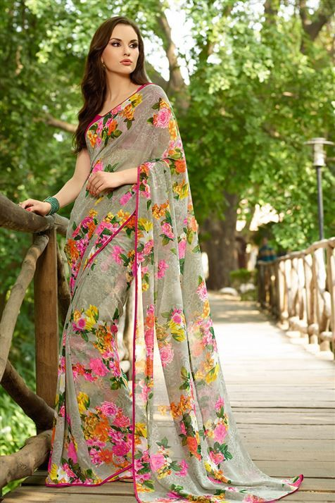 Grey Georgette Floral Print #Saree