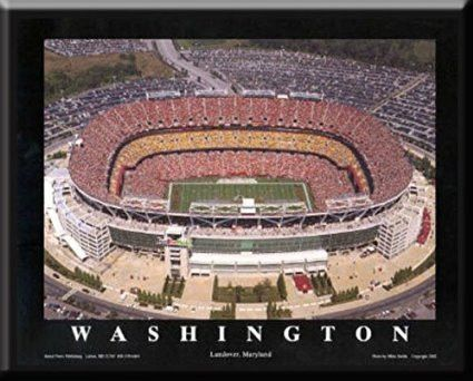 Washington Redskins FedEx Field Aerial View Poster- Framed
