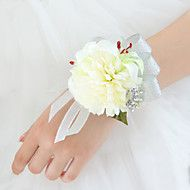Wedding+Flowers+Free-form+Lilies+Peonies+Wrist+Corsages+Wedding+Party/+Evening+Silver+Satin+–+USD+$+11.98