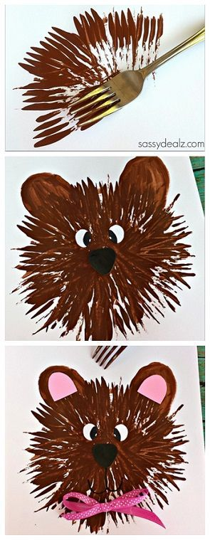 Bear Craft for Kids to Make Using a Fork! #TeddyBear