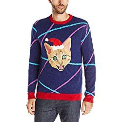 Blizzard Bay Men's Light up Lazer Kitty Ugly Christmas Sweater, Navy/Red, Small