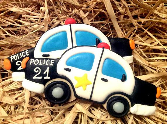 Free shipping within USA & Canada - Police car cookies - Police party theme- Policeman-Sheriff car cookies