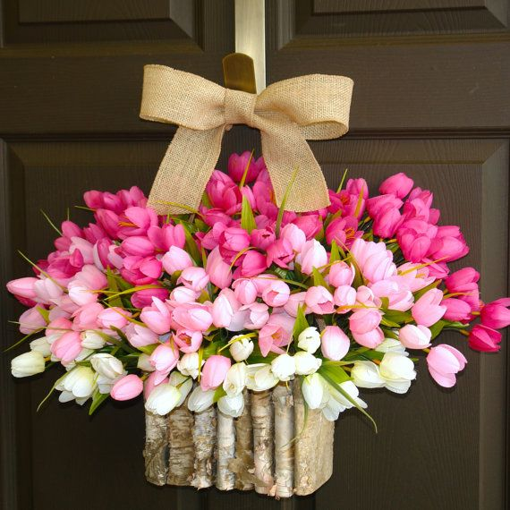 MY GOODNESS, I LOVE THIS!  spring wreath tulips wreaths Easter wreaths birch by aniamelisa, $95.00