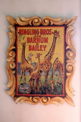 vintage circus themed nursery! I have this poster. Nice framing.