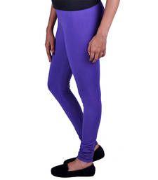 Buy Purple plain Cotton - lycra leggings legging online