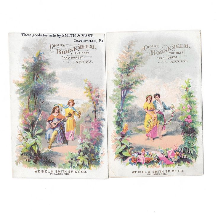 2 Bohsemeem Spices Trade Cards Weikel & Smith Spice Co Philadelphia Victorian Romantic Charm