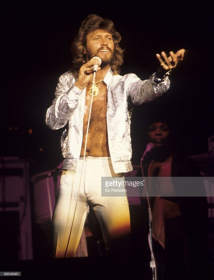 Barry Gibb of the Bee Gees performs at the Oakland Coliseum on July 11, 1979 in Oakland, California.