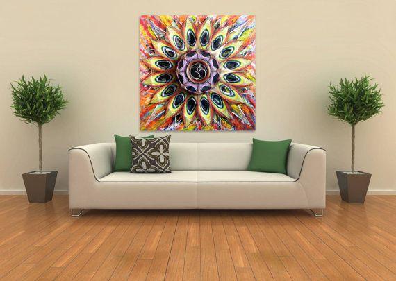 String & Nail Art 'Om ॐ Mandala' with Ice Quartz. Large Wall Art on Wood Home Decor. Unique sacred geometry spiritual symbol, ready to hang