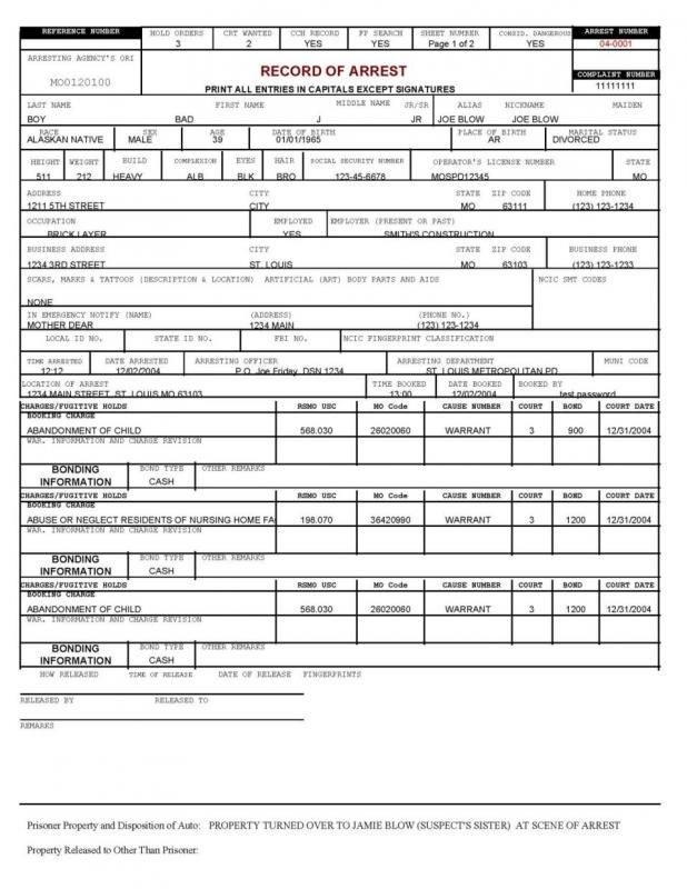 Police Report Example | template | Report template, Incident report