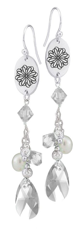 Sigma Kappa Symbol Clear Crystal and Freshwater Pearl Earrings