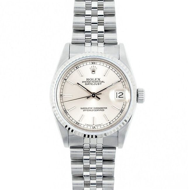 Refurbished Pre-Owned Rolex Midsize Datejust 31mm Stainless Steel Railroad Stick Dial Watch Model 68274