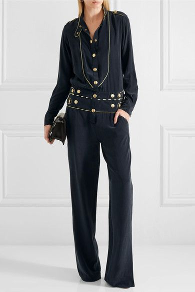 Pierre Balmain - Washed-silk Jumpsuit - Navy - FR38
