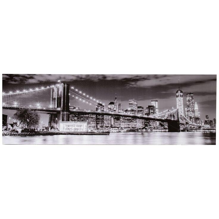 Reproduction sur toile. Pont de Brooklyn la nuit.