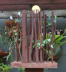 Michael Wilson - Road to Ubirr Free standing sculpture of Corten steel with gold…