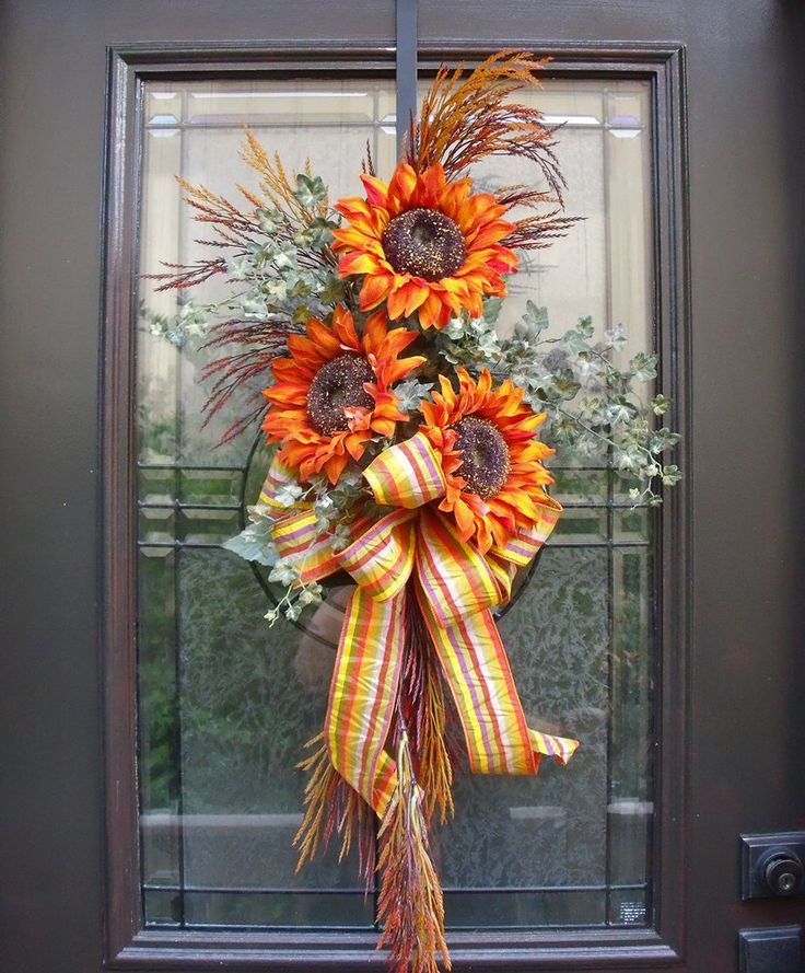 Sunflower Swag, Fall Decorations, Wall Floral Arrangement, Fall Arrangements, Autumn Decor, Fall Wreath