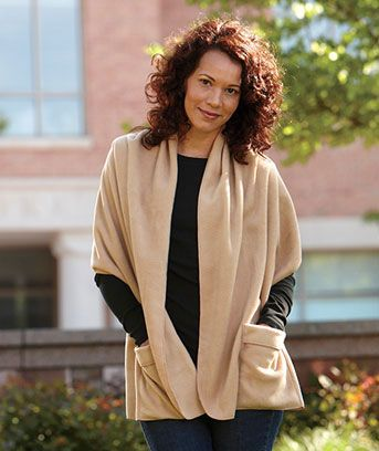 """Women's Shawl Wraps with Pockets 19"""" by 65"""" i think i can sew this out of fleece"""
