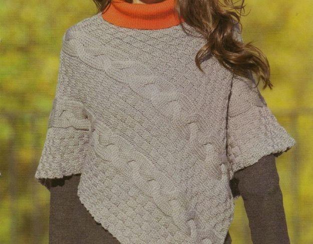 Poncho a maglia: foto e modelli - Poncho punto treccione ai ferri